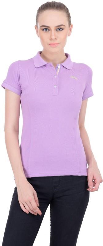 JumpUSA Solid Women's Polo Neck Purple T-Shirt