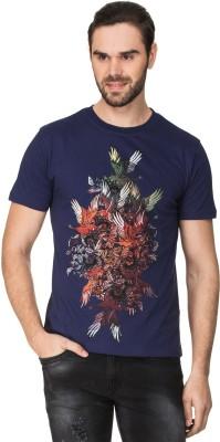 Zovi Graphic Print Men's Round Neck Blue T-Shirt
