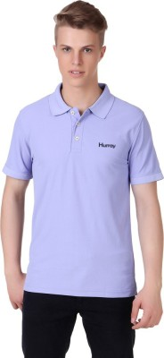 Hurray Solid Men's Polo Neck Purple T-Shirt