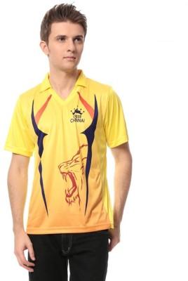 T10 Sports Printed Men's Mandarin Collar Yellow T-Shirt