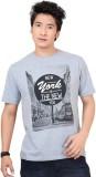 Zootx Printed Men's Round Neck Grey T-Sh...