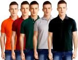 Baremoda Solid Men's Polo Neck Orange, M...