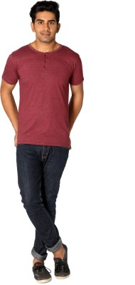 Style Connect Solid Men's Henley Maroon T-Shirt