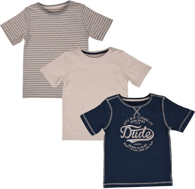 Mothercare Striped Boy's Round Neck Beige, Blue T-Shirt