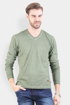 Crocodile Solid Men's V-neck Green T-Shirt