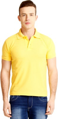 Faded Finch Solid Men's Polo Neck Yellow T-Shirt