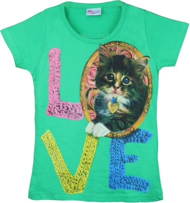 Eimoie Printed Girl's Round Neck Green T-Shirt