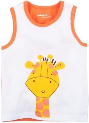 Babyoye Printed Boy's Round Neck Orange T-Shirt