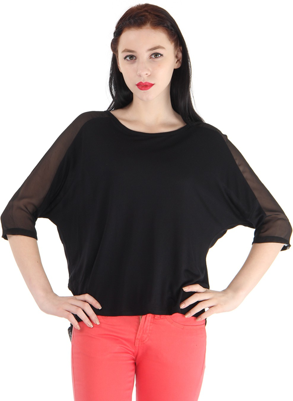 Pepe Jeans Solid Women's Round Neck Black T-Shirt