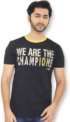 Real Madrid C.F. Printed Men's Round Neck Black T-Shirt