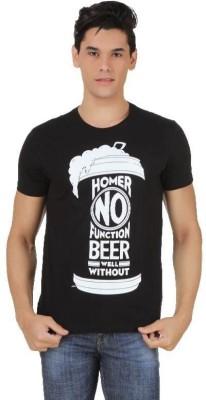 Simpsons Printed Men's Round Neck Black T-Shirt