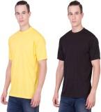Randier Solid Men's Round Neck Yellow, B...