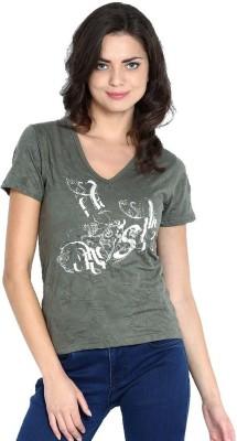 ESPRESSO Printed Women's V-neck Green T-Shirt