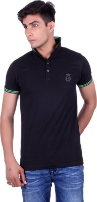 All Ruggby Solid Men's Polo Neck Black T-Shirt