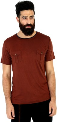 Mr Button Solid Men's Round Neck Brown T-Shirt