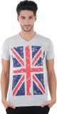 Burdy Printed Men's V-neck Grey T-Shirt