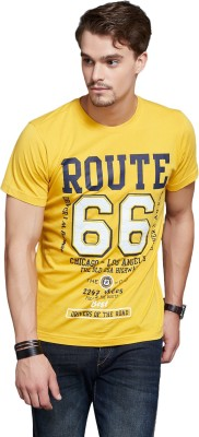 Route 66 Printed Men's Round Neck Yellow T-Shirt