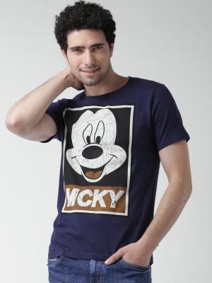 Moda Rapido Printed Men,s Round Neck Dark Blue T-Shirt