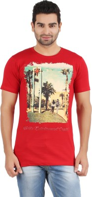 R - Cross Printed Men's Round Neck Red T-Shirt