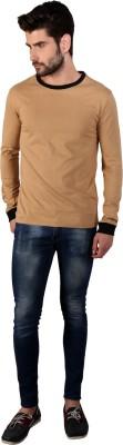 Attabouy Solid Men's Round Neck Gold T-Shirt