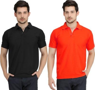 KRAZY KATZ Solid Men's Polo Neck Black, Red T-Shirt