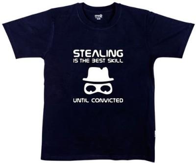 One11 Printed Men,s, Women's Round Neck Black T-Shirt