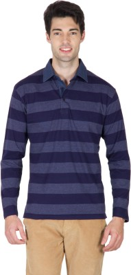 Hypernation Striped Men's Polo Blue T-Shirt