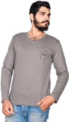 Indian Royal Embroidered, Solid Men's V-neck Grey T-Shirt
