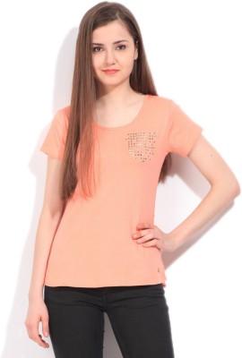 Elle Solid Women's Round Neck Orange T-Shirt