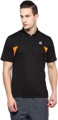 Aurro Solid Men's Polo Neck Black T-Shirt