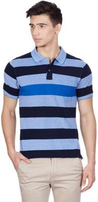 Cloak & Decker Striped Men's Polo Neck Blue T-Shirt
