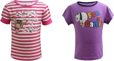 Blueriver Graphic Print Girl's Round Neck Pink, Purple T-Shirt