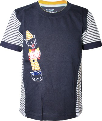 Kothari Printed Boy's Round Neck Black T-Shirt