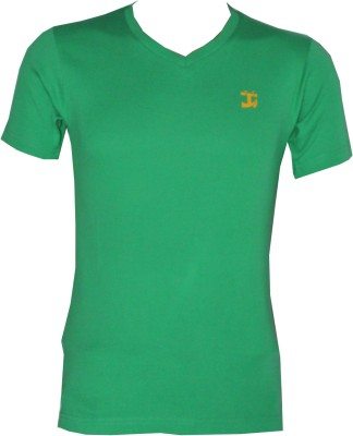 Tick Lish Solid Men's V-neck Light Green T-Shirt