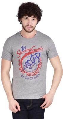 ADAMO ESSENTIALS Graphic Print Men's Round Neck Grey T-Shirt