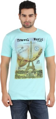 R - Cross Printed Men's Round Neck Light Blue T-Shirt