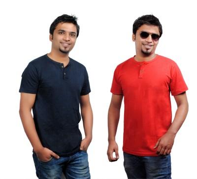 Brand Teez Solid Men's Henley Blue, Red T-Shirt