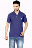 Gumality Solid Men's Polo Neck Dark Blue...