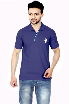 Gumality Solid Men's Polo Neck Dark Blue T-Shirt