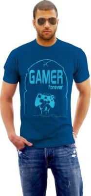 Monzter Popcornz Graphic Print Men's Round Neck Blue T-Shirt