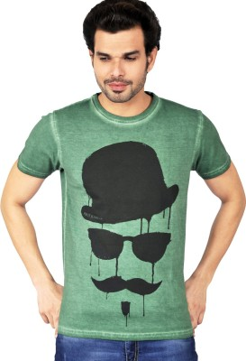 Riot Jeans Printed Men's Round Neck Green T-Shirt