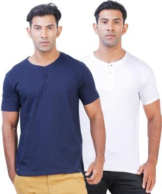 Click Hit Solid Men's Henley Blue, White T-Shirt