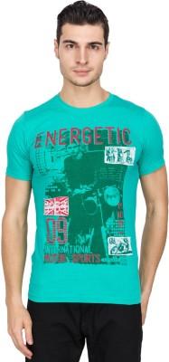 IQ Printed Men,s Round Neck Light Green T-Shirt