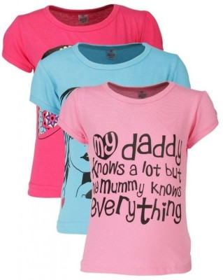 Gkidz Printed Girls Round Neck Multicolor T-Shirt