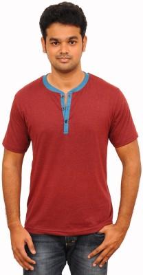 Vagga Self Design, Solid Men's Henley Maroon T-Shirt
