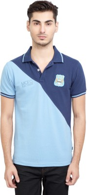 Manchester City FC Solid Men's Mandarin Collar Dark Blue T-Shirt