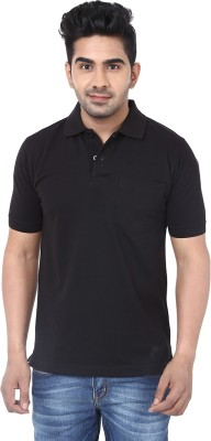 Crocks Club Solid Men's Polo Neck Black T-Shirt