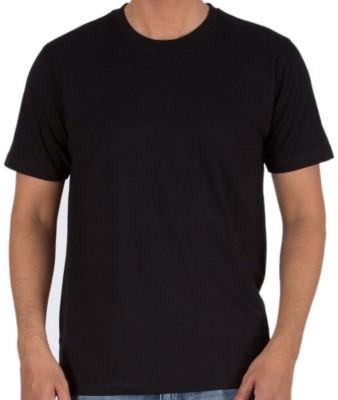 Sprat Solid Men's Round Neck Black T-Shirt