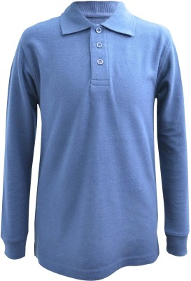 Blueriver Solid Boy's Polo Neck Dark Blue T-Shirt