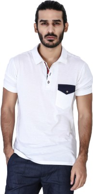 Mr Button Solid Men's Polo Neck White T-Shirt